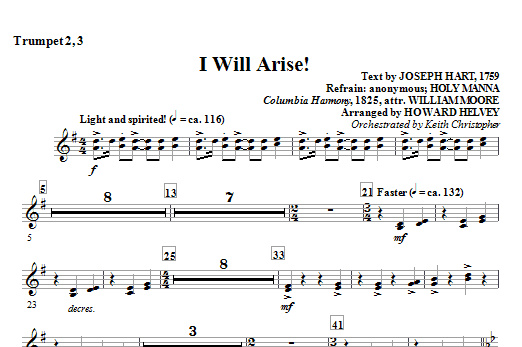 Howard Helvey I Will Arise! - Trumpet 2, 3 sheet music notes and chords. Download Printable PDF.