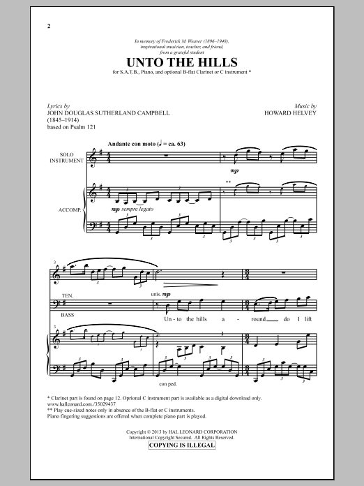 Howard Helvey Unto The Hills sheet music notes and chords. Download Printable PDF.