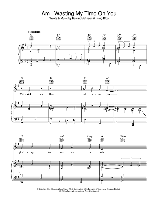 Howard Johnson Am I Wasting My Time On You sheet music notes and chords. Download Printable PDF.