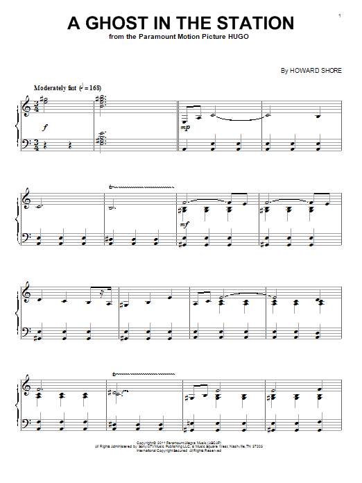 Howard Shore A Ghost In The Station sheet music notes and chords. Download Printable PDF.