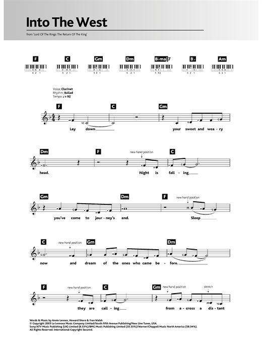 Howard Shore Into The West (from The Lord Of The Rings: The Return Of The King) sheet music notes and chords. Download Printable PDF.