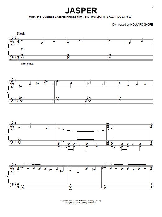 Howard Shore Jasper sheet music notes and chords. Download Printable PDF.