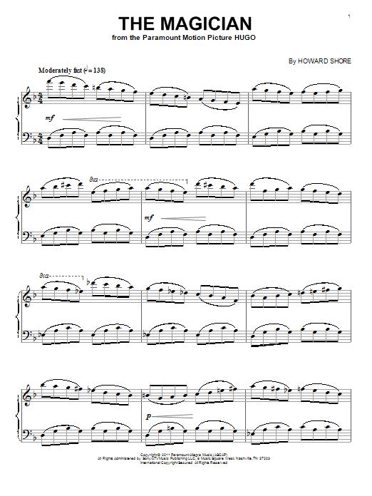 Howard Shore The Magician sheet music notes and chords