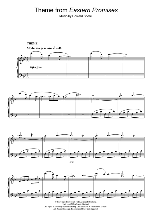 Howard Shore Theme from Eastern Promises sheet music notes and chords