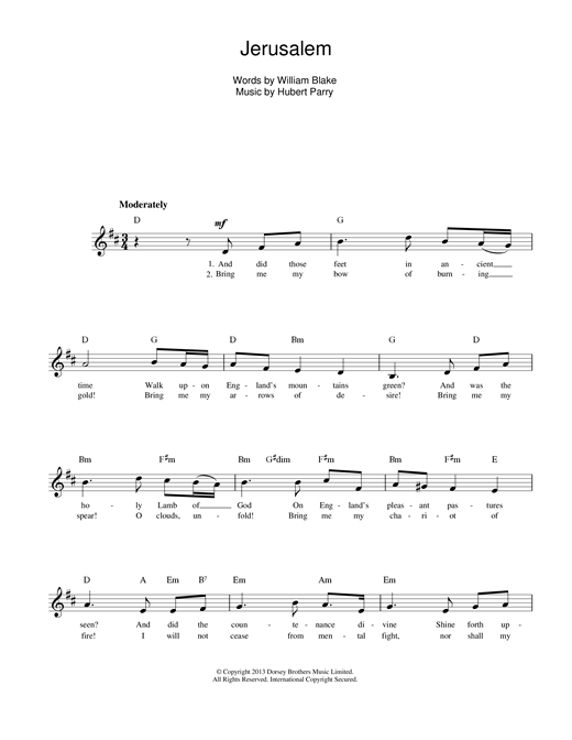 Hubert Parry Jerusalem sheet music notes and chords. Download Printable PDF.