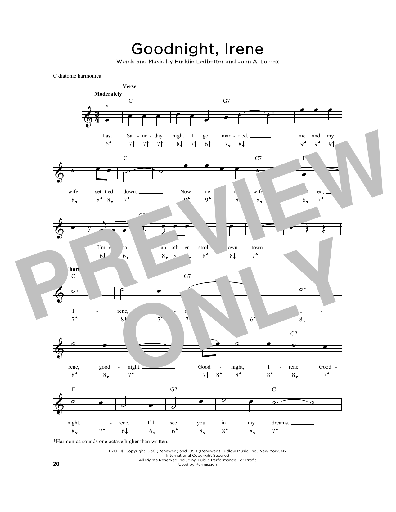 Huddie Ledbetter Goodnight, Irene sheet music notes and chords. Download Printable PDF.