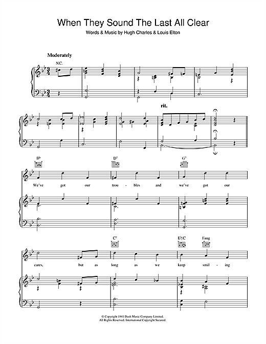 Hugh Charles When They Sound The Last All Clear sheet music notes and chords. Download Printable PDF.
