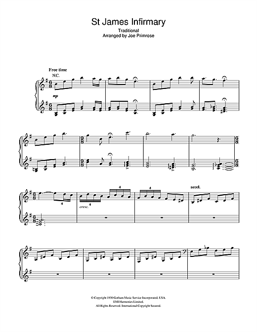 Hugh Laurie St James Infirmary Sheet Music Pdf Notes Chords Blues Score Piano Vocal Guitar Download Printable Sku 110100