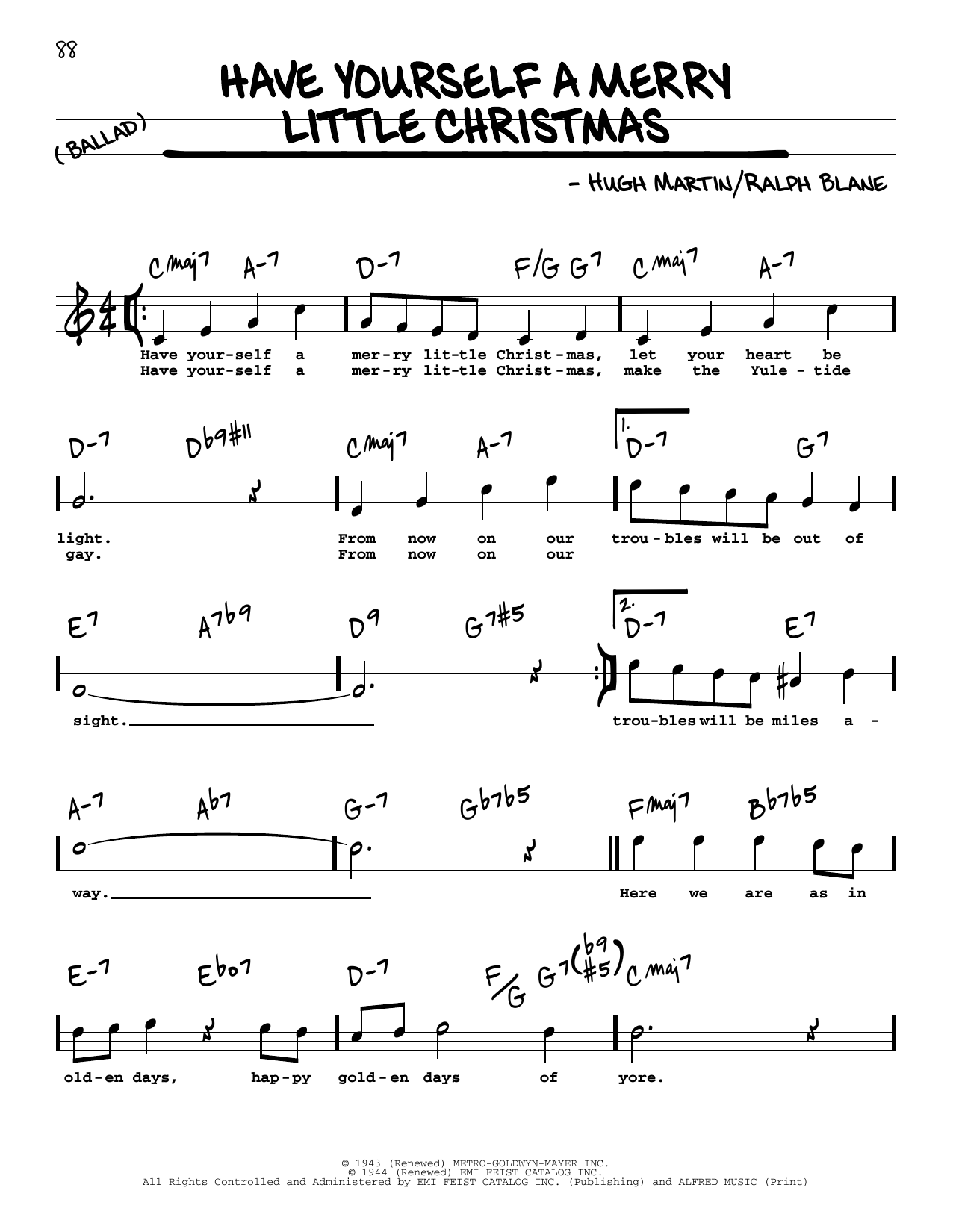Hugh Martin Have Yourself A Merry Little Christmas sheet music notes and chords. Download Printable PDF.