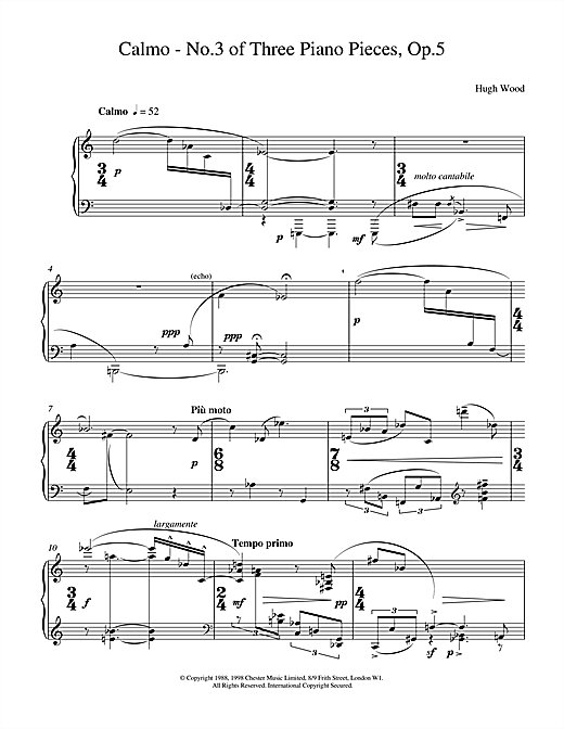 Hugh Wood Calmo Op.5 sheet music notes and chords