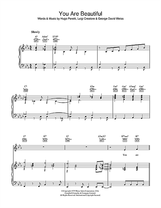 Hugo Peretti You Are Beautiful sheet music notes and chords. Download Printable PDF.