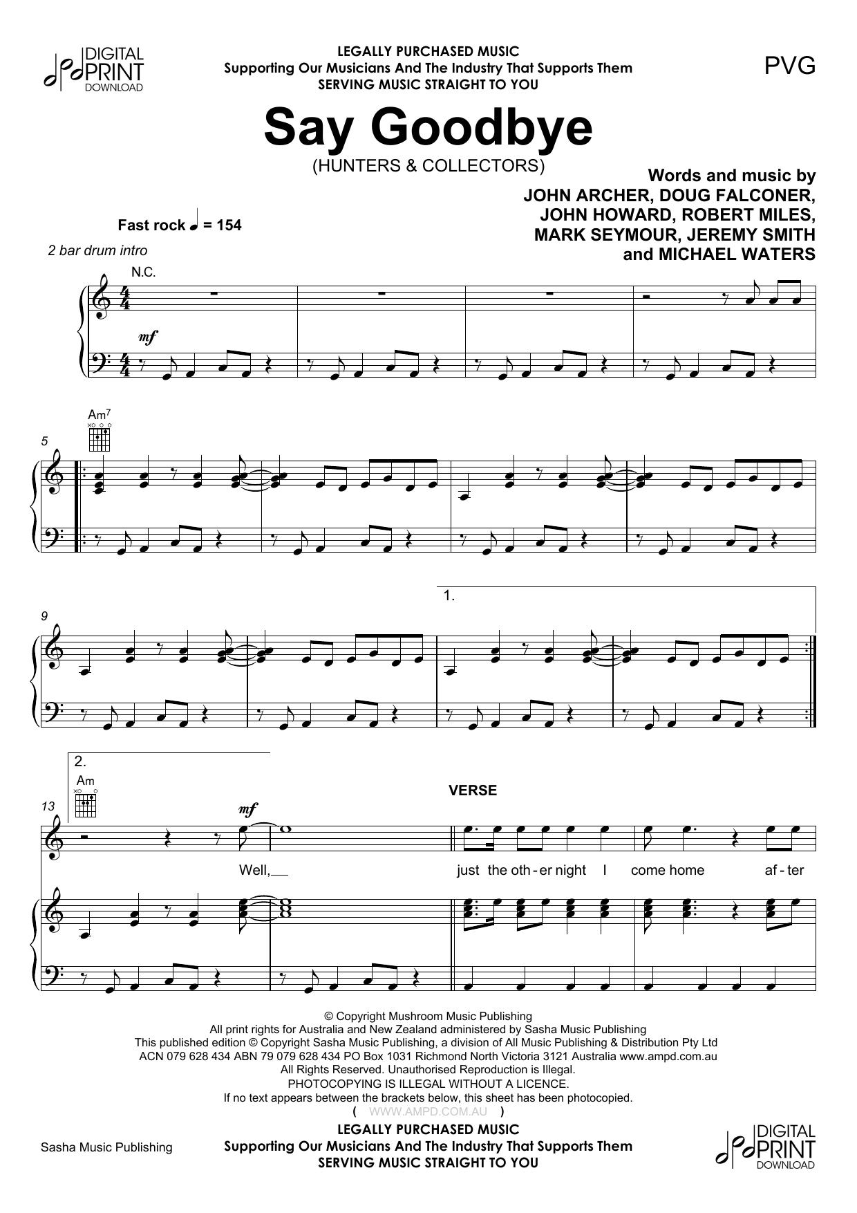 Hunters & Collectors Say Goodbye sheet music notes and chords. Download Printable PDF.