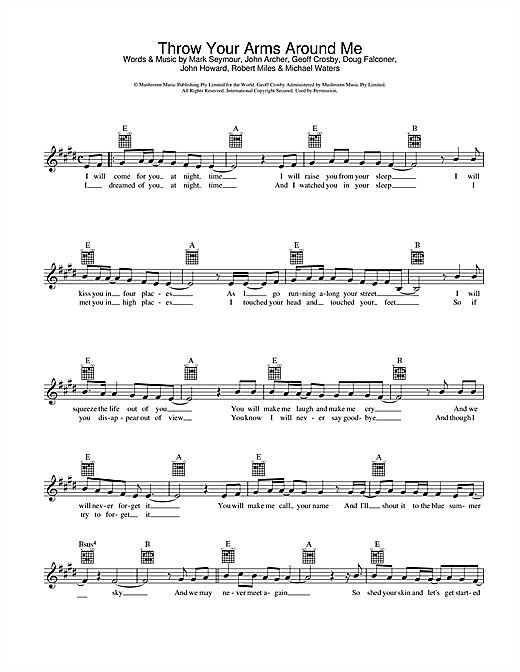 Hunters & Collectors Throw Your Arms Around Me sheet music notes and chords. Download Printable PDF.
