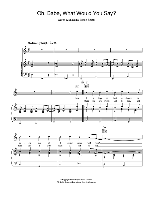 Hurricane Smith Oh, Babe, What Would You Say? sheet music notes and chords. Download Printable PDF.