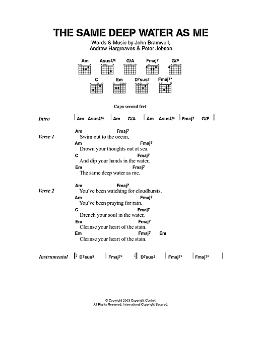 I Am Kloot The Same Deep Water As Me sheet music notes and chords. Download Printable PDF.