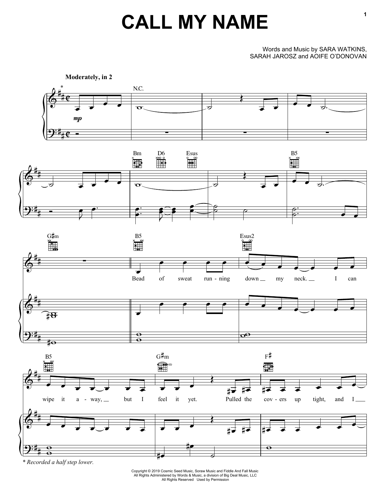 I'm With Her Call My Name sheet music notes and chords. Download Printable PDF.