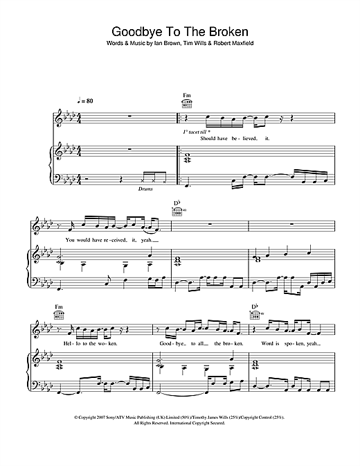 Ian Brown Goodbye To The Broken sheet music notes and chords. Download Printable PDF.