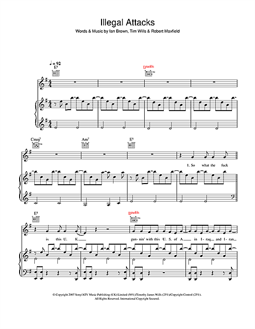 Ian Brown Illegal Attacks sheet music notes and chords. Download Printable PDF.