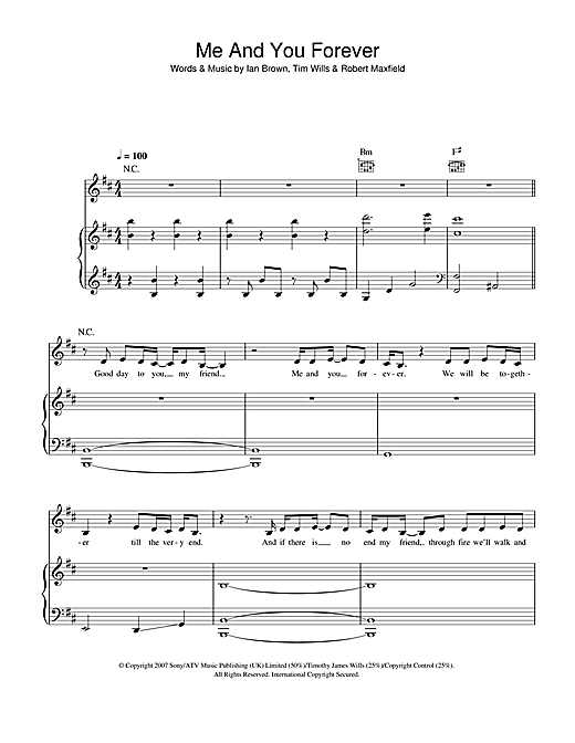 Ian Brown Me And You Forever sheet music notes and chords. Download Printable PDF.