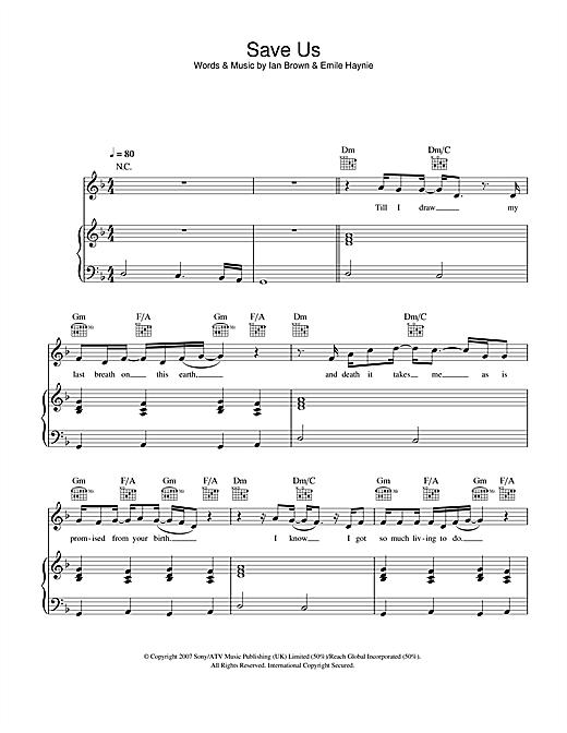 Ian Brown Save Us sheet music notes and chords. Download Printable PDF.