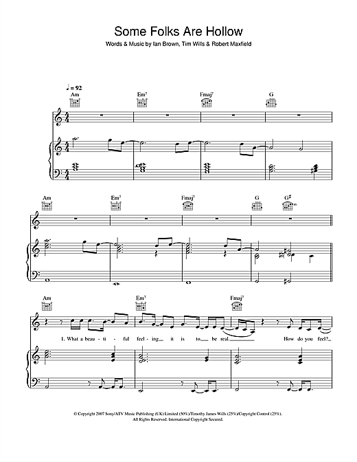 Ian Brown Some Folks Are Hollow sheet music notes and chords. Download Printable PDF.