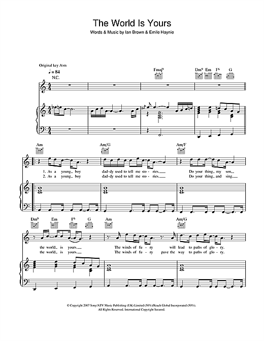 Ian Brown The World Is Yours sheet music notes and chords