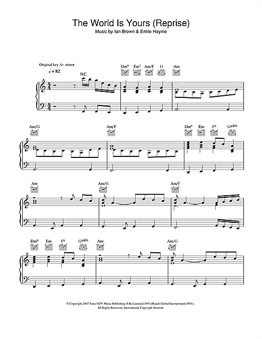 Ian Brown The World Is Yours (Reprise) sheet music notes and chords