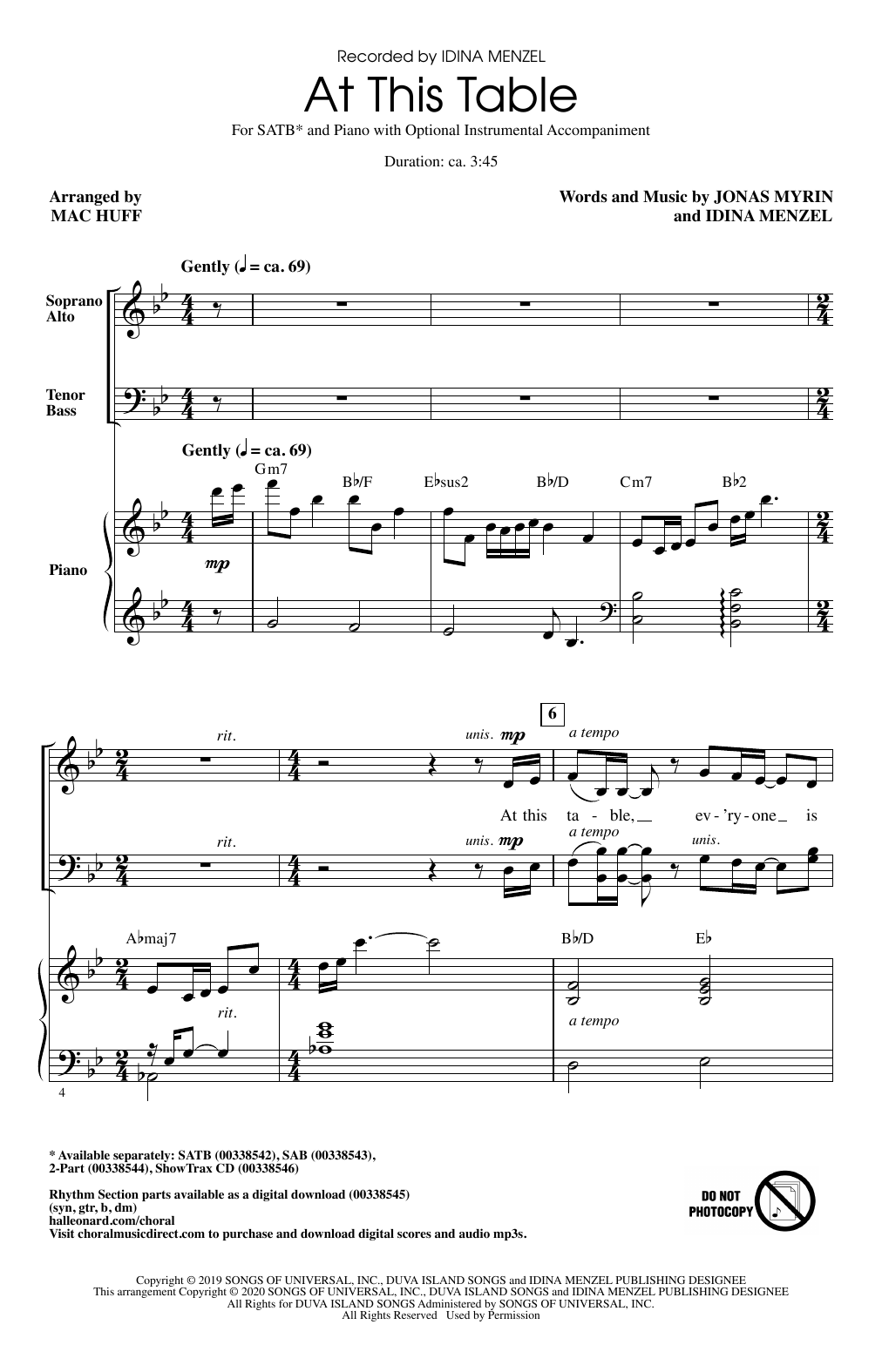 Idina Menzel At This Table (arr. Mac Huff) sheet music notes and chords. Download Printable PDF.