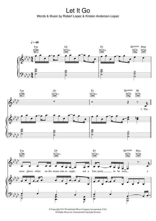Idina Menzel Let It Go (from Frozen) sheet music notes and chords