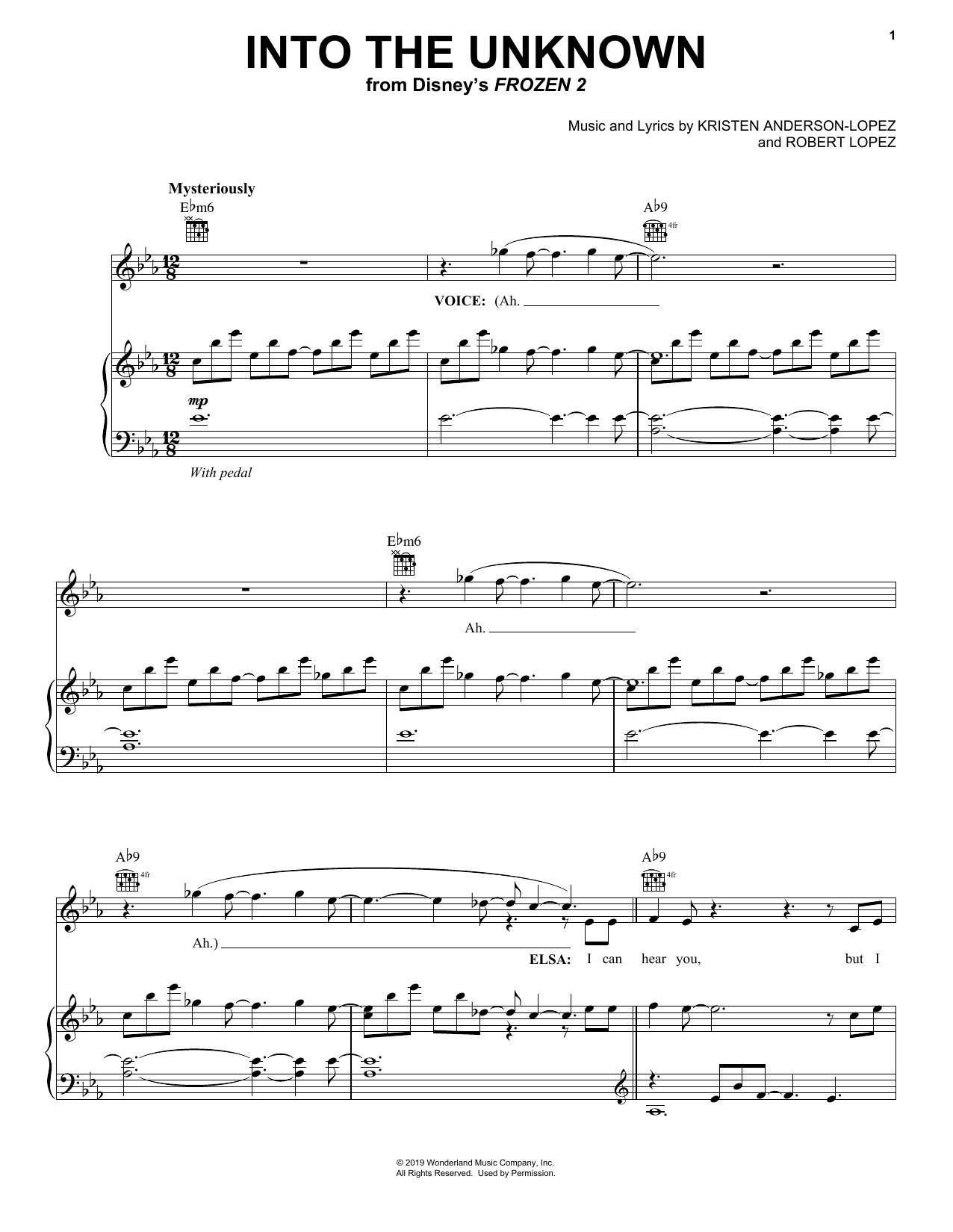 Idina Menzel and AURORA Into The Unknown sheet music notes and chords. Download Printable PDF.