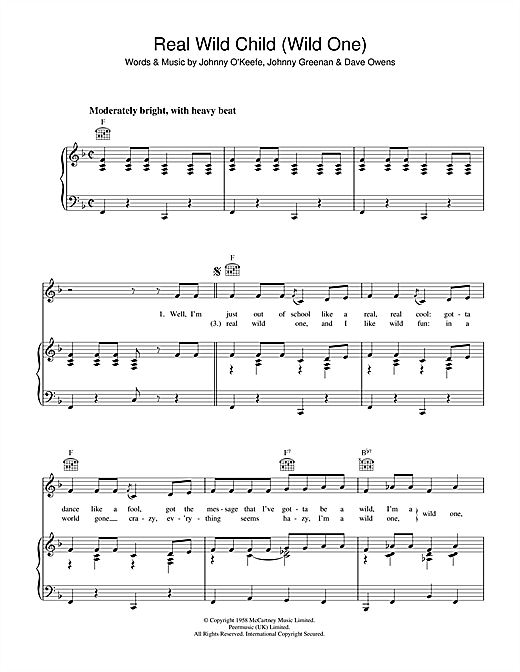 Iggy Pop & Jet Real Wild Child (Wild One) sheet music notes and chords. Download Printable PDF.