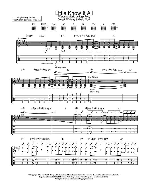 Iggy Pop & Sum 41 Little Know It All sheet music notes and chords. Download Printable PDF.