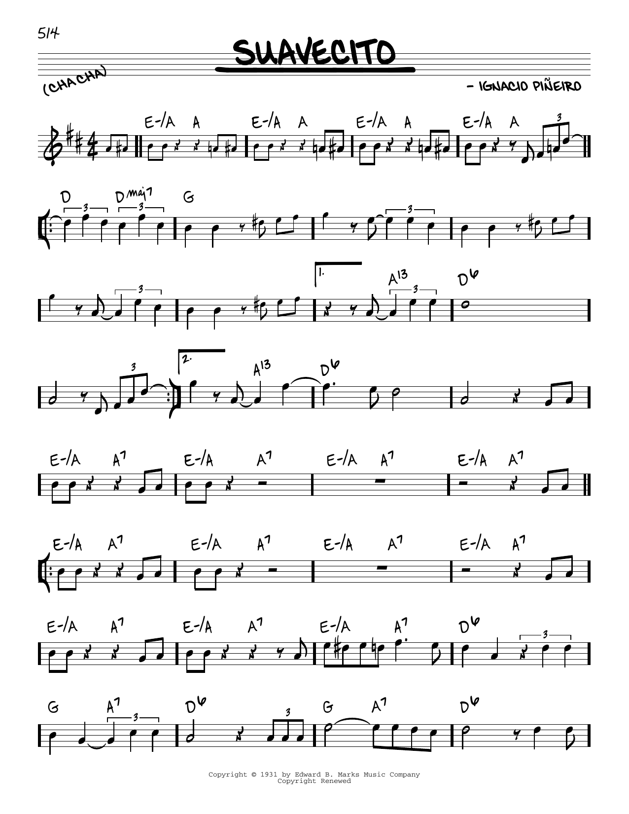 Ignacio Pineiro Suavecito sheet music notes and chords. Download Printable PDF.
