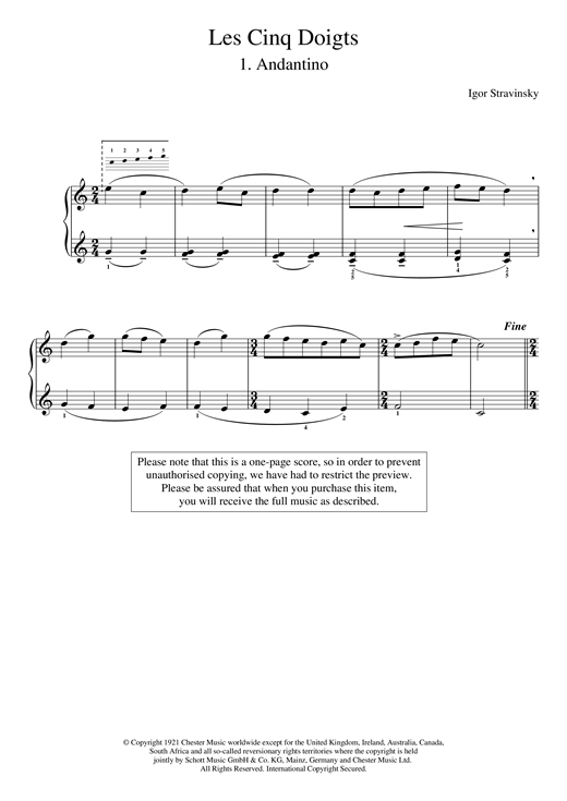 Igor Stravinsky Andantino (No. 1 From Les Cinq Doigts) sheet music notes and chords. Download Printable PDF.