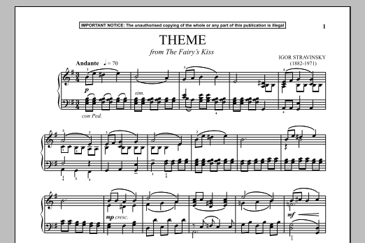 Igor Stravinsky The Fairy's Kiss (Theme) sheet music notes and chords. Download Printable PDF.