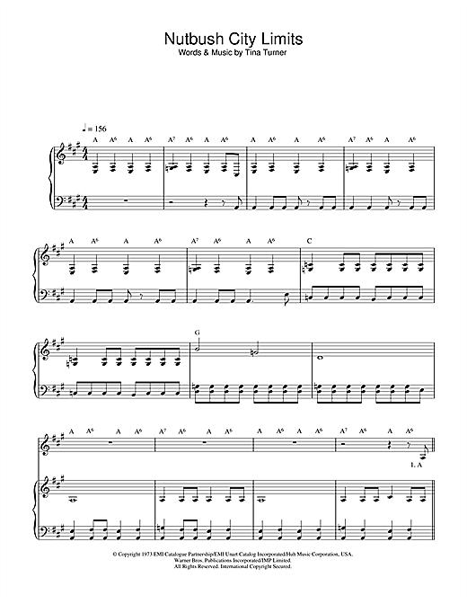 Ike & Tina Turner Nutbush City Limits sheet music notes and chords. Download Printable PDF.