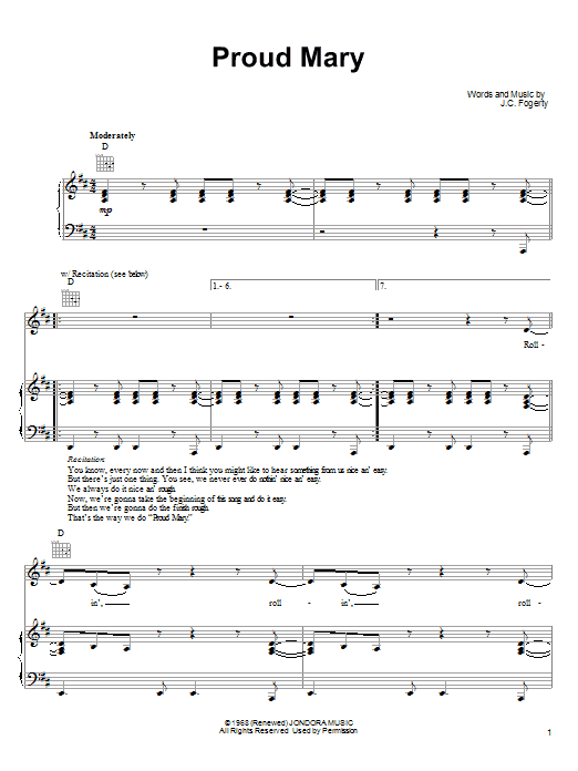 Ike & Tina Turner Proud Mary sheet music notes and chords. Download Printable PDF.