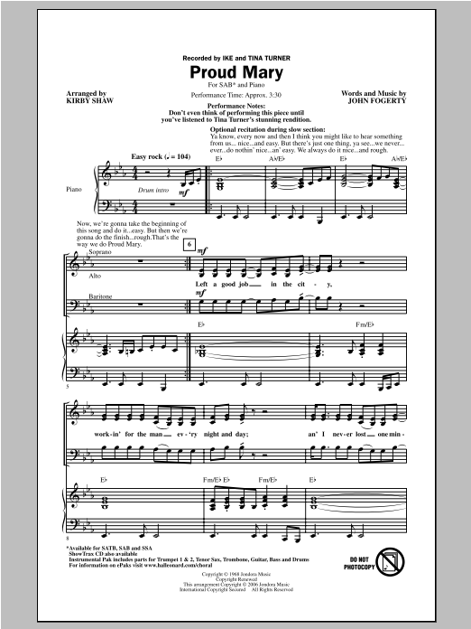 Ike & Tina Turner Proud Mary (arr. Kirby Shaw) sheet music notes and chords. Download Printable PDF.
