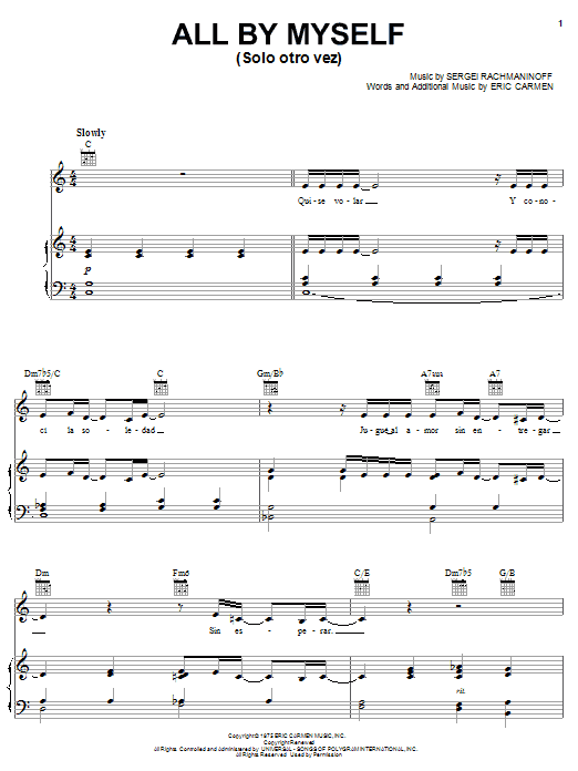 Il Divo All By Myself (Solo otro vez) sheet music notes and chords. Download Printable PDF.