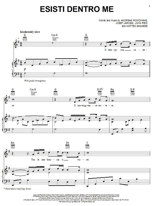 Il Divo Esisti Dentro Me sheet music notes and chords. Download Printable PDF.