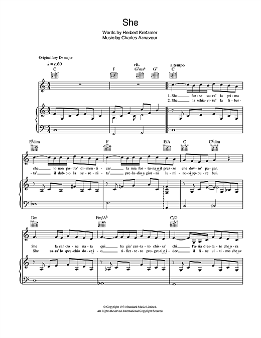 Il Divo She sheet music notes and chords. Download Printable PDF.