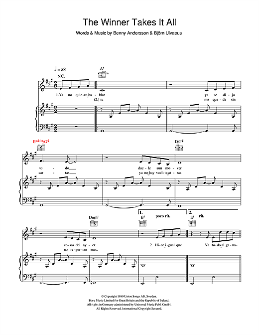 Il Divo The Winner Takes It All sheet music notes and chords. Download Printable PDF.
