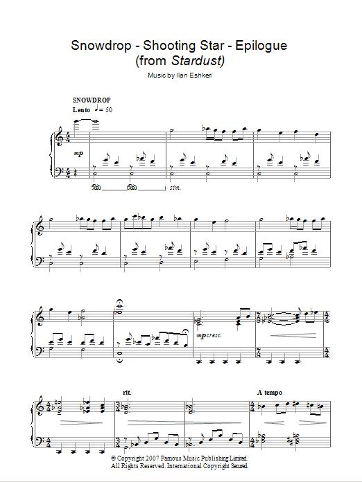 Ilan Eshkeri Snowdrop/Shooting Star/Epilogue (from Stardust) sheet music notes and chords. Download Printable PDF.