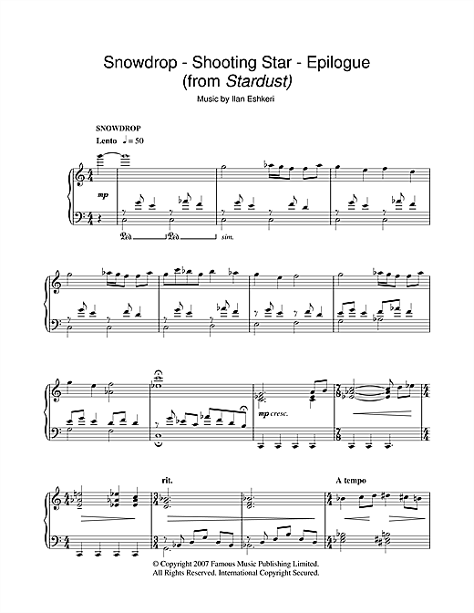 Ilan Eshkeri Snowdrop/Shooting Star/Epilogue (from Stardust) sheet music notes and chords