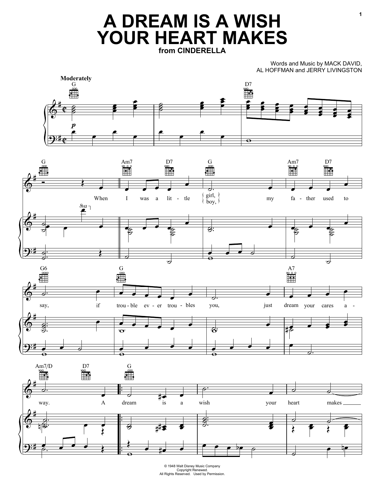 Ilene Woods A Dream Is A Wish Your Heart Makes (from Disney's Cinderella) sheet music notes and chords. Download Printable PDF.