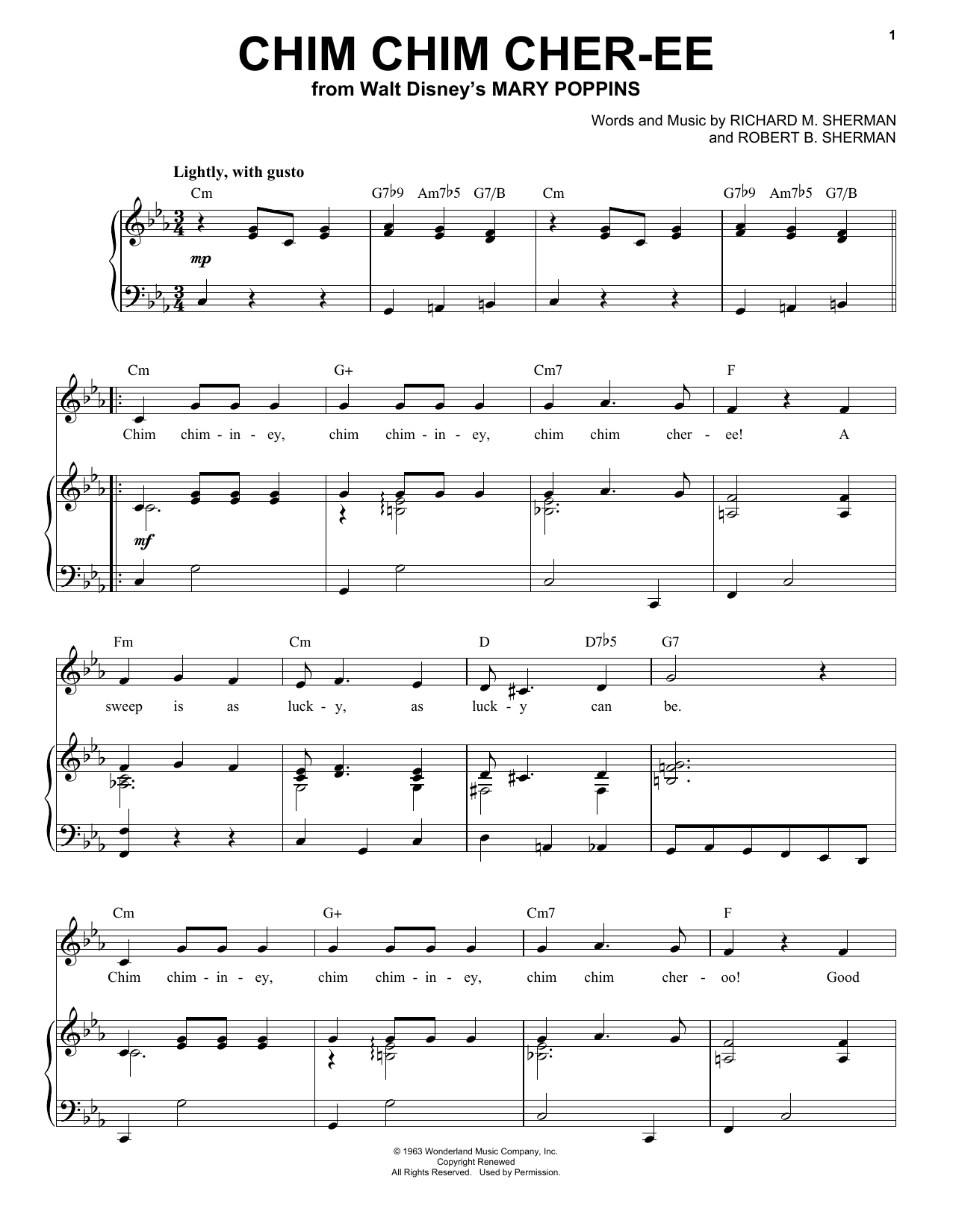 Ilene Woods Chim Chim Cher-ee sheet music notes and chords. Download Printable PDF.
