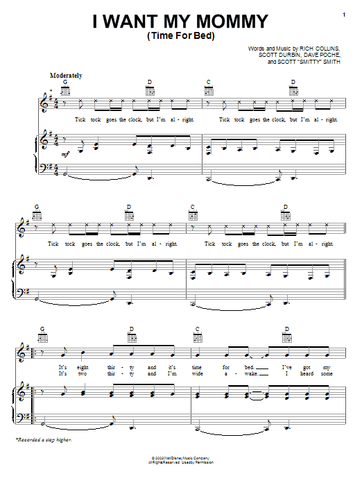 Imagination Movers I Want My Mommy (Time For Bed) sheet music notes and chords. Download Printable PDF.
