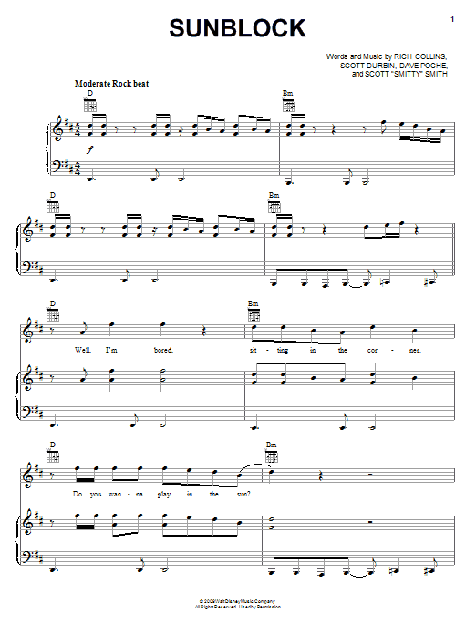 Imagination Movers Sunblock sheet music notes and chords. Download Printable PDF.