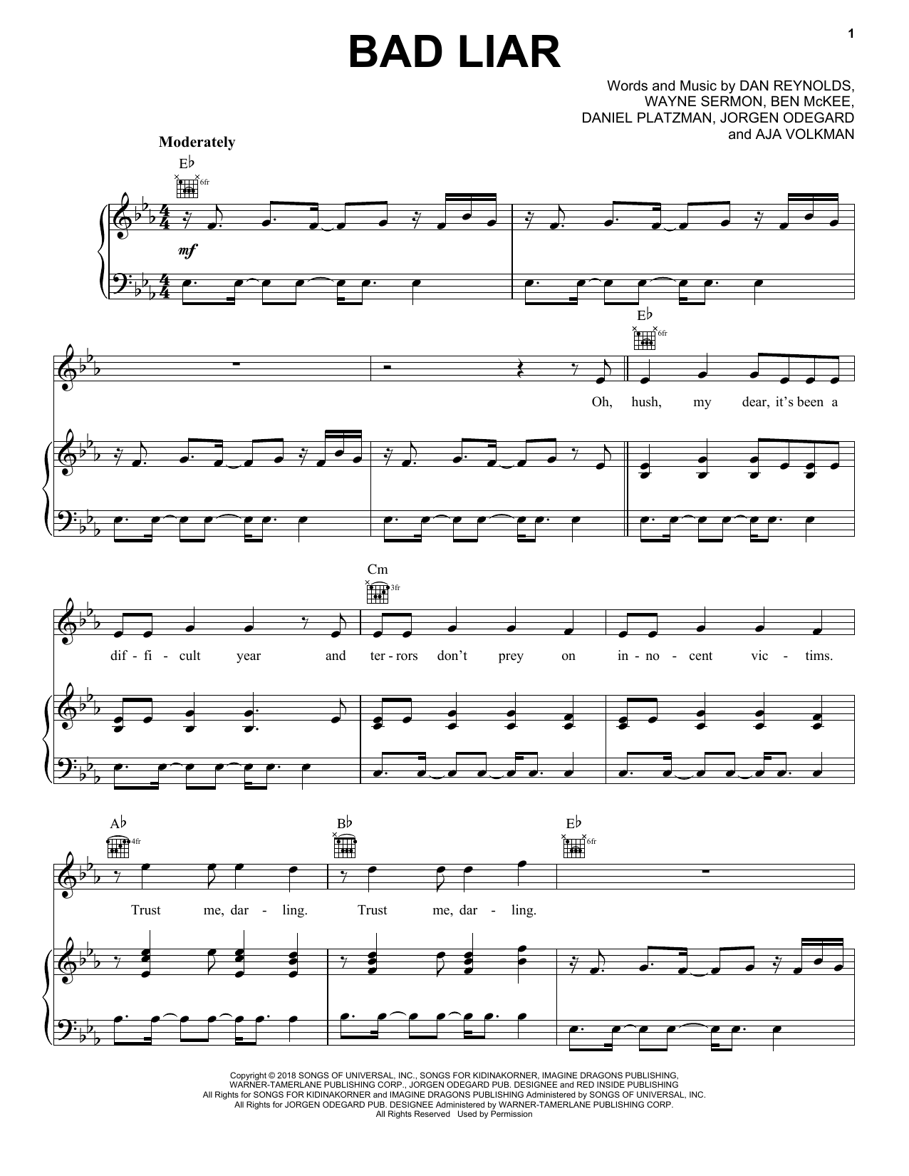 Imagine Dragons Bad Liar sheet music notes and chords