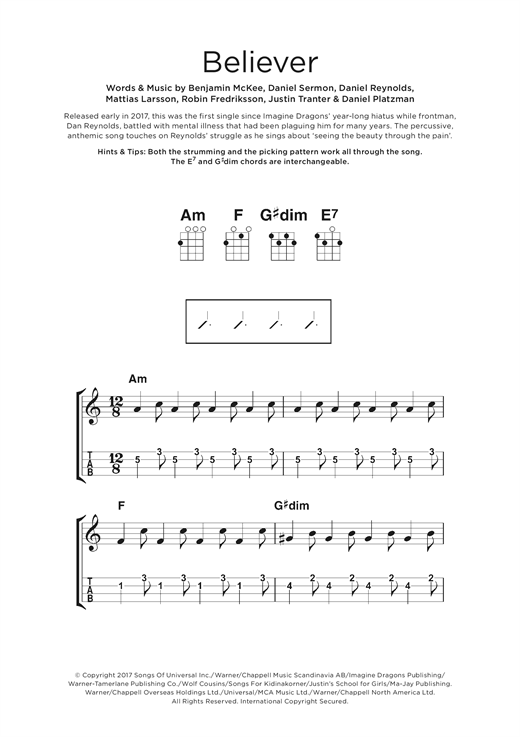 Imagine Dragons Believer sheet music notes and chords